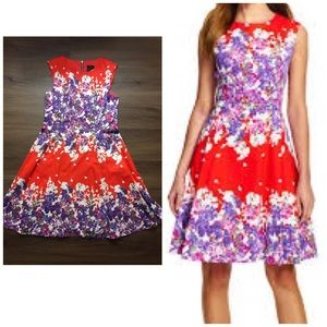Adrianna Papell red floral print fit & flare dress